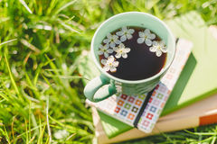 Books and spring tea cup Royalty Free Stock Images