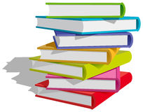 Books stack. Stack of multicolor books on white background. Vector Illustration Royalty Free Stock Images