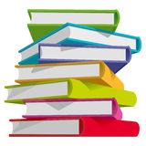 Books stack. Stack of multicolor books on white background. Vector Illustration Royalty Free Stock Photo
