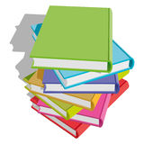 Books stack. Stack of multicolor books on white background. Vector Illustration Royalty Free Stock Photos