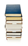 Books Stack. High stack of books isolated on white royalty free stock image