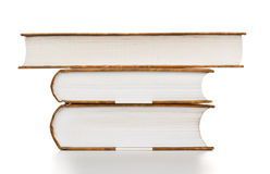 Books Stack. High stack of books isolated on white stock photography