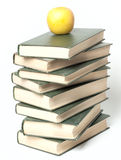 Books stack with apple stock photo