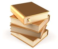 Books stack of book blank golden covers yellow textbooks. Books stack of book blank golden covers gold yellow textbooks bookmarks. School studying information Royalty Free Stock Image