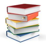 Books stack of book covers colorful textbook bookmarked Stock Images