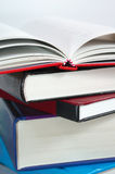 Books stack with book open Royalty Free Stock Image