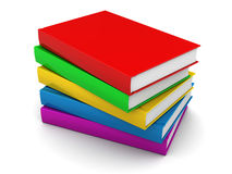 Books stack. 3d illustration of colorful books stack over white background Stock Photography
