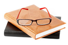 Books stack with eyeglass Royalty Free Stock Photo