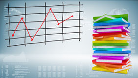 Books stack and graph of price changes. Graphs and texts as backdrop Royalty Free Stock Image