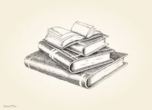 Books stack hand drawing vintage style. Isolated on old paper background Stock Images
