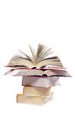 Books in a stack, isolated on a white background Stock Images