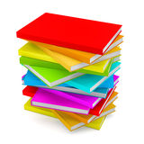 Books stack - isolated on white background. 3D illustration Royalty Free Stock Photo