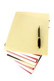 Books Stack and letter paper. With white background Royalty Free Stock Photos