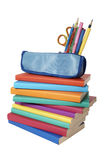 Books stack and pencil case Stock Image