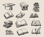 Books stack sketch Royalty Free Stock Photo