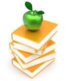 Books stack textbook golden apple green covers yellow. Gold education studying reading learning school college knowledge literature content icon concept. 3d Royalty Free Stock Photo