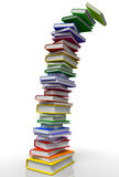 Books Stack Tower. 3D rendered Illustration of overloaded books stack construction falling Royalty Free Stock Photos
