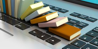 Books stacked on a laptop keyboard. 3d illustration. E-learning concept. Books stacked on a computer keyboard. 3d illustration Royalty Free Stock Images