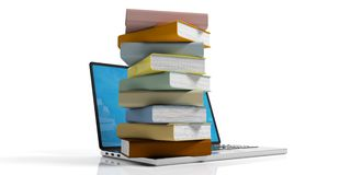 Books stacked on a laptop on white background. 3d illustration. E-learning concept. Books stacked on a laptop on white background. 3d illustration Royalty Free Stock Image
