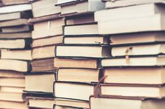 Books stacked. Piles of books background stock images