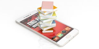 Books stacked on a smartphone on white background. 3d illustration. E-learning concept. Books stacked on a smartphone on white background. 3d illustration Royalty Free Stock Photo