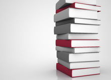 Books stacked. Tall stack of books 3d illustration. Copy space Stock Photo
