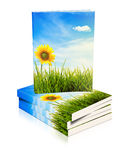 Books stacked on top of each other with nature sce Royalty Free Stock Photos