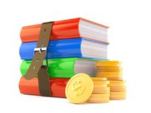 Books with stacks of coins. Isolated on white background Stock Image