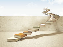 Books stair. 3d image of books stair and blue sky Stock Images