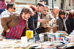 Books on stalls in Sant Jordi feast Stock Photo