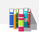 Books standing o a white shelve. Flat style modern vector illustration isolated on white background Royalty Free Stock Image