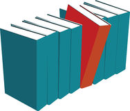 Books standing one red Royalty Free Stock Images