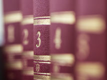 Books,  standing in a row. Shallow depth of field Royalty Free Stock Photo
