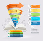 Books step education cone infographics. Vector illustration. Can be used for workflow layout, banner, diagram, number options, step up options, web design royalty free illustration