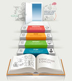 Books step education infographics. Vector illustration. can be used for workflow layout, banner, diagram, number options, step up options, web design Stock Photos