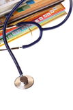 Books and stethoscope isolated Stock Image