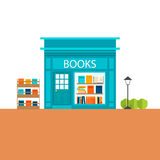 Books store building with books icons set Stock Photo