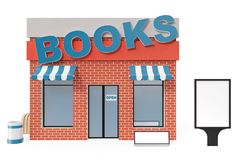 Books Store with copy space board isolated on white background. Modern shop buildings, store facades. Exterior market. Exterior facade store building. 3D Stock Images
