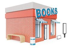 Books Store with copy space board isolated on white background. Modern shop buildings, store facades. Exterior market. Exterior facade store building. 3D Stock Photo