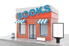 Books Store with copy space board isolated on white background. Modern shop buildings, store facades. Exterior market. Exterior facade store building. 3D Stock Photography