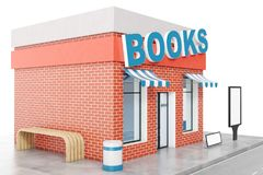 Books Store with copy space board isolated on white background. Modern shop buildings, store facades. Exterior market. Exterior facade store building. 3D Royalty Free Stock Photography