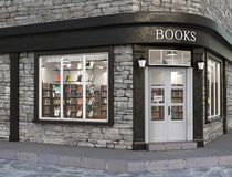Books store exterior, 3d illustration Royalty Free Stock Photos