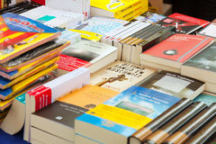 Books on street stalls  in Barcelona, Catalonia Royalty Free Stock Image
