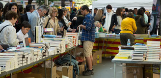 Books on street stalls  in Barcelona, Catalonia Stock Images