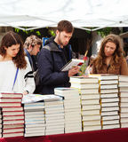 Books on street stalls. Focus on books Stock Images