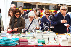 Books on street stalls  in Saint George day Stock Photos