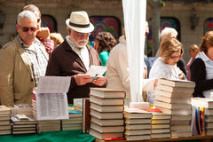 Books on street stalls in Sant Jordi Stock Image