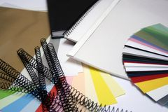 Books and supplies. Binding materials and different samples Royalty Free Stock Image