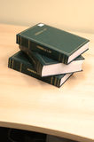 Books on table. Photo books on yellow table Royalty Free Stock Photo