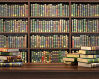 Books on the table in the focus. On the blurred background bookshelf full of books. Concept of library vector illustration